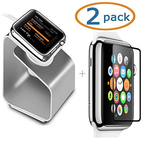 CiDoss Aluminium Apple Watch Stand, Holder Silicone Charging Mount Cradle for iWatch Plus Tempered Glass Screen Protector, 38mm
