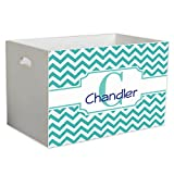Personalized Teal Chevron Childrens Nursery White Open Toy Box