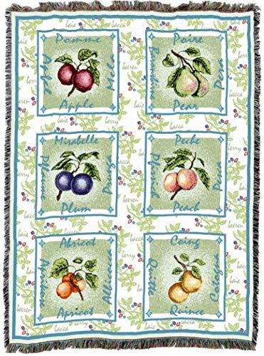 Pure Country Weavers | Alsatian Fruit Woven Tapestry Throw Blanket with Fringe Cotton USA 72x54 ()