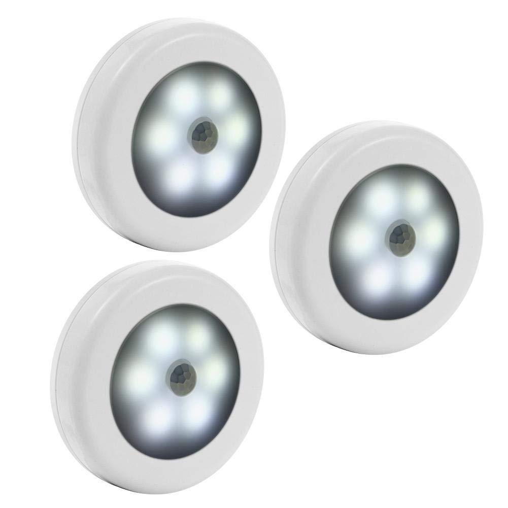3pcs White Shell KKXXYD 3 5 Set Infrared Motion Sensor Night Light Wireless Detector Light Wall Lamp Dry Battery Closet Cabinet Sensor Light