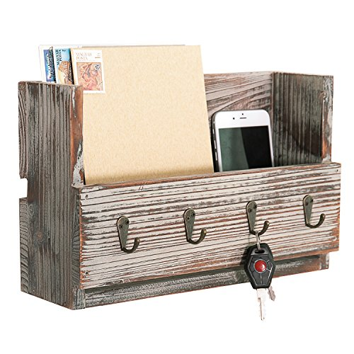 Rustic Torched Wood Wall Mounted Mail Holder Organizer with 4 Key Hooks - Country Medium Wall Bracket