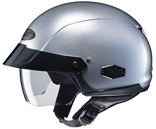 Silver Performance Street Helmet - HJC IS-Cruiser Half-Shell Motorcycle Riding Helmet (Silver, Large)