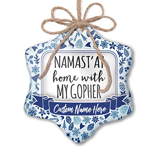 NEONBLOND Custom Tree Ornament Namast'ay Home with My Gopher Simple Sayings with Your Name ()