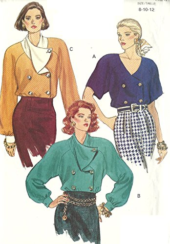 Vogue vintage 1980s sewing pattern 8139 double breasted raglan blouse - Size 8-12