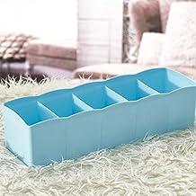 Multi-function Desktop Drawer Storage Box Clothing Organizer Five Grid Storage Box Underwear Socks Bra Ties Organizer Blue color
