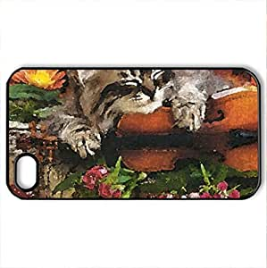 Sleeping kitten with violin and flowers - Case Cover for iPhone 4 and 4s (Cats Series, Watercolor style, Black)