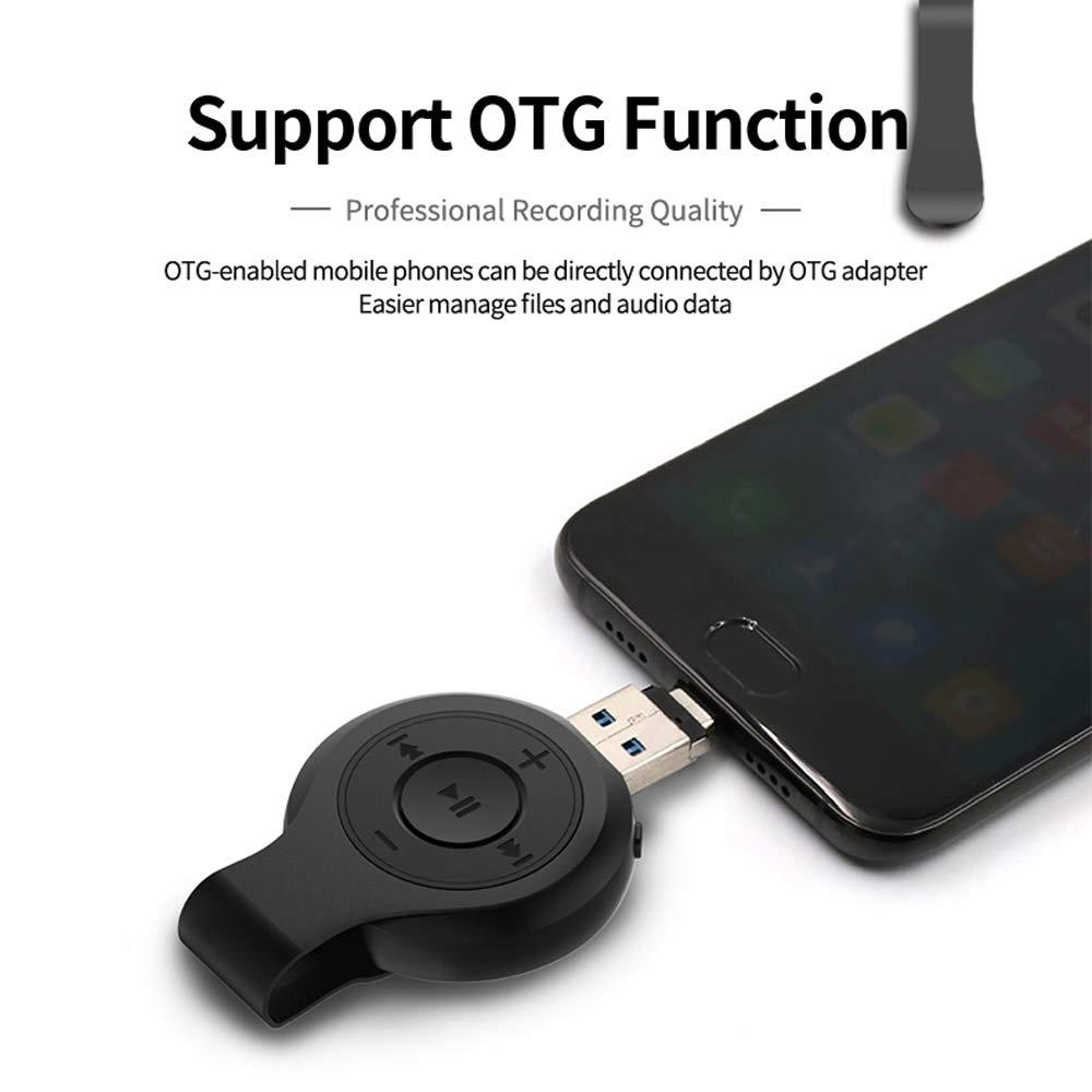 Mini Digital Voice Recorder- 8GB Memoria con Attivazione Vocale e Dispositivo di Ricarica Portatile Riproduttore MP3 96 Ore Di Capacit/à Registratore Vocale Digitale USB