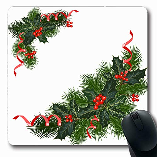 VivYES Gaming Mousepad Custom Year Berry Christmas Fir Tree Holly Berries for Holidays Border Bow Branch Celebration December Oblong Shape 7.9 x 9.5 Inches Rectangle Non-Slip Rubber Mouse Pads ()