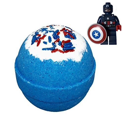 Superhero BUBBLE Bath Bomb with Surprise Minifigure Inside - in Gift Box - Big Blue Kids Bath Fizzy By Two Sisters Spa - Homemade by Moms in the USA