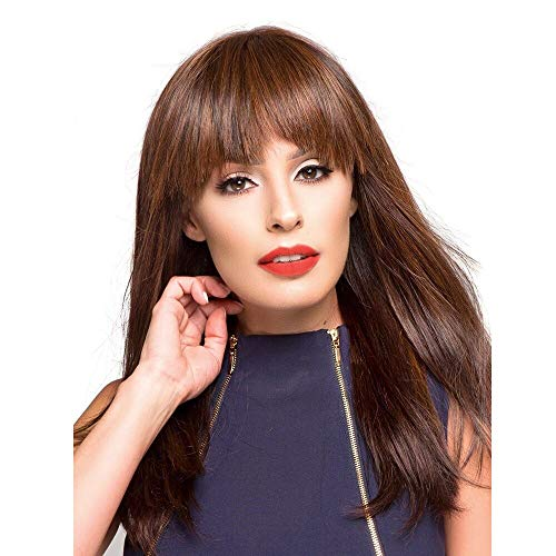 Synthetic Wig with Bangs Long Straight Ombre Hair Heat Resistant Full Wig for Women Girls Lady,Brown Mix Blonde Wig (Brown)