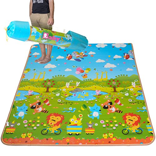Baby Play Mat Rug by BMyBaby - Portable Kids Play Mat and Foam Floor Gym with Beautiful Graphics and Adorable Animal Friends - Portable for Outdoor or Indoor Use