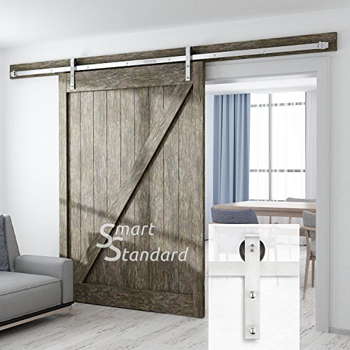 SMARTSTANDARD SDH1000STAIN0103 Heavy Duty Sliding Barn Door Hardware Kit, 10ft DoubleRail, Stainless Steel, Super Smoothly and Quietly, Simple and Easy to Install, Fit 60″ Wide DoorPanel(J Shape)