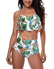 AMAGGIGO Badeanzug für Damen Hoch taillierte Halter Vintage Push-up Bikini Set Damen Plus Größe 2-Stück Bademode (FBA)