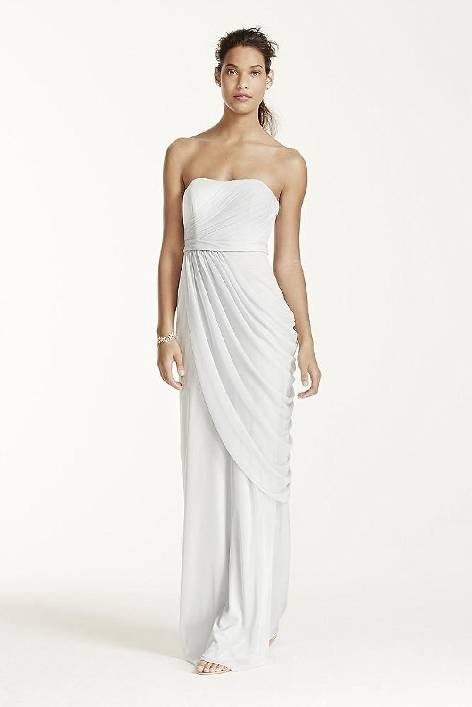 David\'s Bridal Long Strapless Mesh Bridesmaid Dress with Side ...