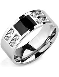 Men's Stainless Steel Enamel Ring Band CZ Silver Tone Black Wedding