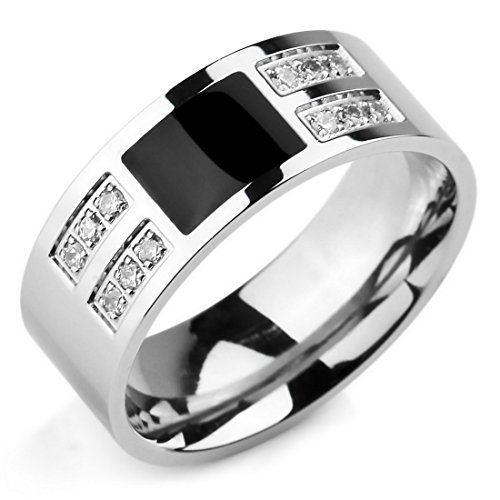 INBLUE Men's Stainless Steel Enamel Ring Band CZ Silver Tone Black Wedding Size12