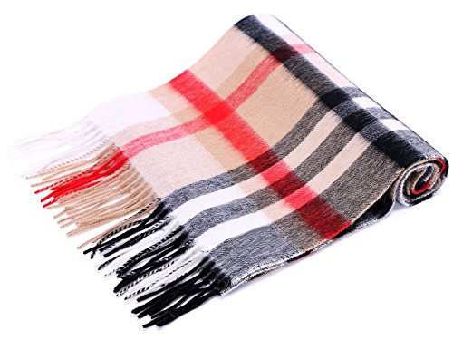 ANDORRA Super Soft 100% Cashmere Winter Scarf with Gift Box,Khaki/Red/black