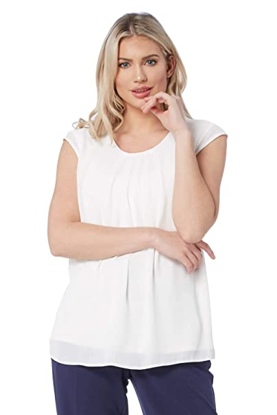 e966b76b385522 Roman Originals Women Chiffon Pleated Top - Ladies Daywear Pastel Smart  Weekend Smart Workwear Office Formal Everyday Interview Event Conference  Sleeveless ...