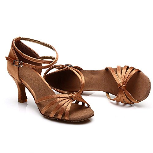 JINFENGKAI Women's Latin Salsa Dance Shoes Style 217 Brown SkP0JIzHK