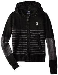 U.S. Polo Assn. Big Boys' Hooded Sweater Jacket, Heather Grey, 18