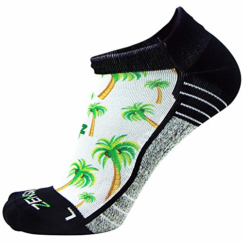 - Zensah Limited Edition No-Show Running Socks - Anti-Blister Comfortable Moisture Wicking Sport Socks for Men and Women (Palm Tree, L)