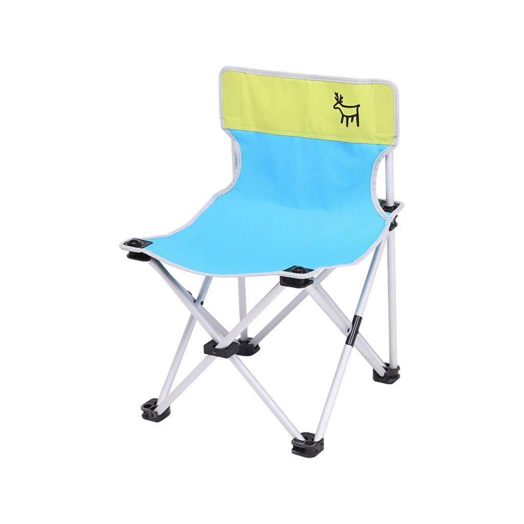 アウトドア 折りたたみ椅子釣り, ポータブル キャンプ用チェア アルミ 背もたれ ビーチ スケッチ キャンプ用 ハイキング 登山 庭園 ピクニック  ブルー B07Q5ZPYCX