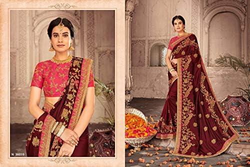 Camicetta da donna elegante Sari Party Festive in tessuto fantasia Saree Party 9952