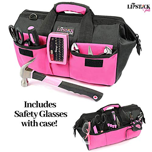 Ladies Pink Tool Set With Safety Glasses. 51 Piece is the Premier Tools Kit For Any Household Project. Women Claim Your Own Tool Box Kit for any homeowners improvement. Great Pink Heavy Duty Toolbag.