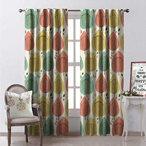 Hengshu Doodle Waterproof Window Curtain Scandinavian Style Floral Pattern in Pale Palette Abstract Fall Tree Decorative Curtains for Living Room W72 x L84 Khaki Almond Green Coral ()