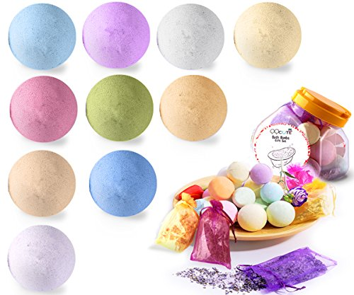 QQcute Bath Bombs Gift Set, 18 Family Spa Vegan Lush Fizzies with Natural Essential Oils,3 Flower Pental Bags, Moisturize Dry Skin, Best Birthday Gifts for Her, Girlfriend, Women, Moms (Wholesale Bath Bombs)