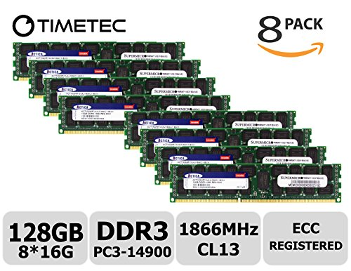 Timetec SUPERMICRO 128GB Kit (8x16GB) DDR3 1866MHz PC3-14900 Registered ECC 1.5V CL13 2Rx4 Dual Rank 240 Pin RDIMM Server Memory RAM Module Upgrade (128GB Kit (8x16GB))
