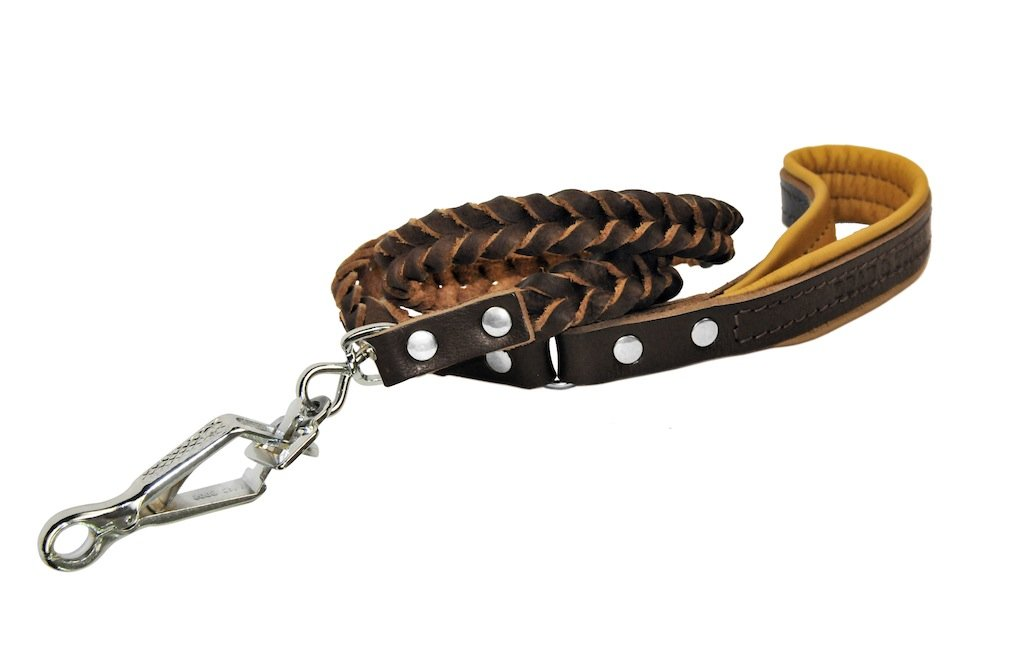 Dean & Tyler Comfort Braid Brown Padding Dog Leash with Brown Herm Sprenger Hardware, 4-Feet by 3 4-Inch
