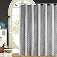 Premium White-Gray Long Fabric Shower Curtain Mildew Resistant for Bathroom 72 x 72-Machine Washable