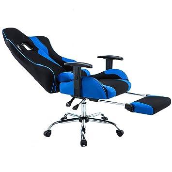 Silla ErgonóMica para Juegos/E-Sports Chair/Recliner/SillóN Giratorio - Silla De Oficina Giratoria con Respaldo Alto Estilo De Carreras, Azul O Roja,Blue: ...