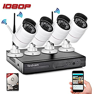 Yeskam Security Camera System 1080P HD Wireless IP Cameras and 4 Channel NVR Recorder with Motion Activated Mobile App Remote View for Outdoor Home Surveillance with 2TB Hard Drive from YESKAM