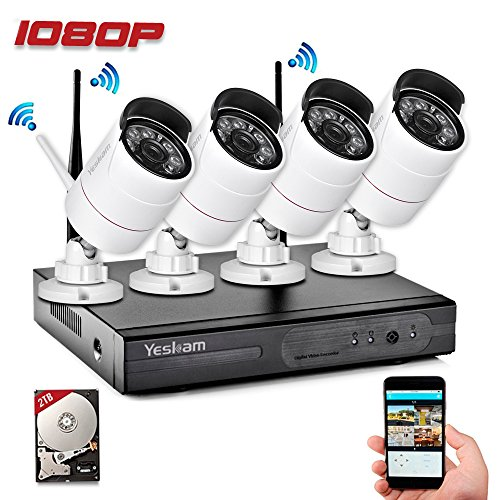 Yeskam Security Camera System 1080P HD Wireless IP Cameras and 4 Channel (Network Camera Recording Software)