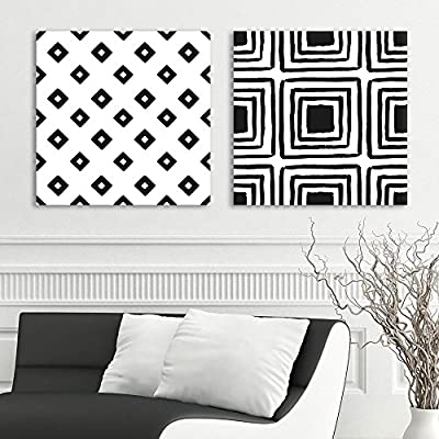 Lovely Technique, Original Creation, 2 Panel Square Black and White Square Patterns Patterns x 2 Panels