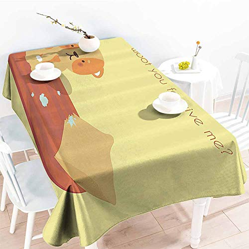 (Homrkey Polyester Tablecloth Dog Lover Decor Collection Sorry Quote Cotton Cushion Pillow Biting Indoor Regret Troubled Dog Fun Art Yellow Orange Mustard Washable Tablecloth W54 xL84)