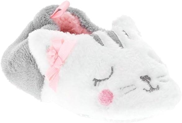 Infant Girls Plush White Kitty Cat Baby Kitten Slippers Prewalk House Shoes