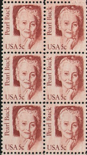 PEARL BUCK ~ WRITER #1848 Block of 6 x 5 US Postage Stamps