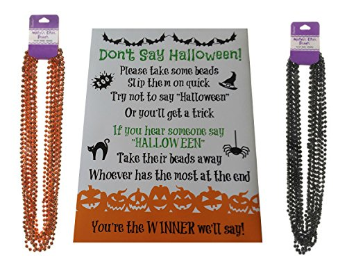 Don't Say Halloween Party Game- For All Ages, Great for Kids and Adults - With Black and Orange Necklaces for 24 Players -