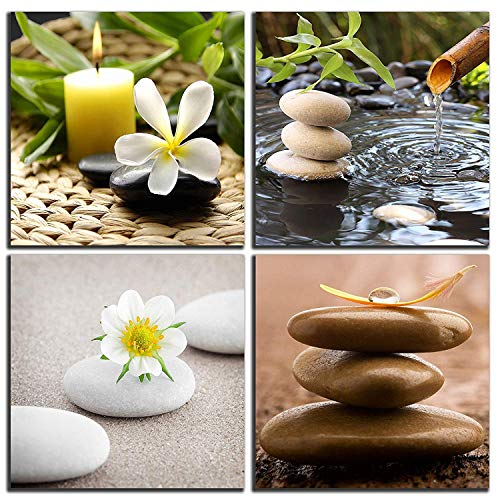 NAN Wind Zen Canvas Wall Art Spa Still Life with Green Bamboo Fountain and Zen Stone Jasmine Flower Painting Pictures for Home Decoration Modern Painting Wall Decor - Zen Wall Fountain
