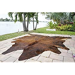 RODEO Dark Brindle By cowhide rug hair on cowhide leather rug superior quality great decoration essential western decor must have (6X6)