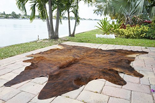 Dark Brindle By Rodeo cowhide rug hair on cowhide leather rug superior quality great decoration essential western decor must have - Western Rodeo Cowhide