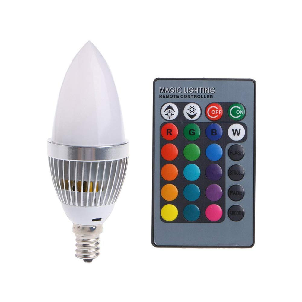 Dastrues 3/W RGB LED Candle Light Bulb Lamp Colors Changing with Remote Control for Home E12 Blanc