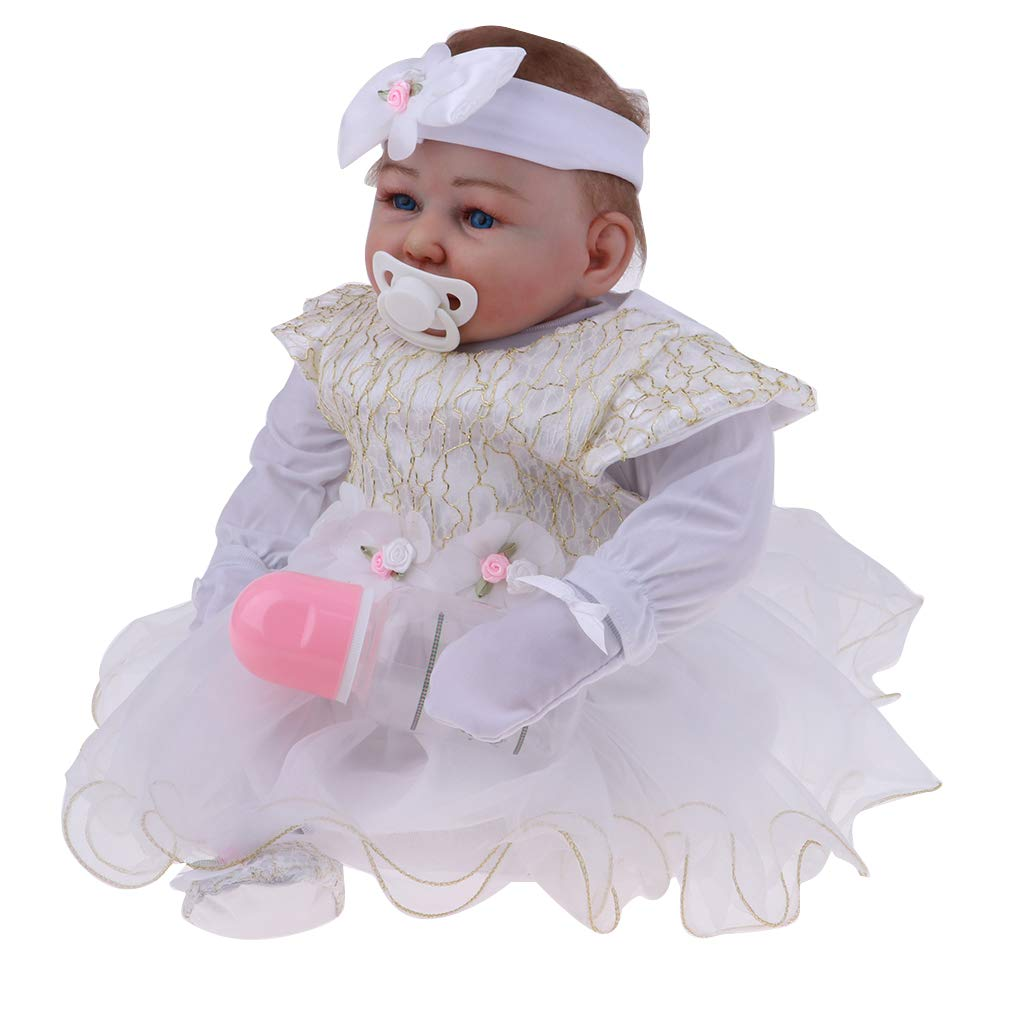 P Prettyia 50 cm Weiche Neugeborenes Babypuppe Funktionspuppe im Kleidung mit Zubehör, Kinder Spielzeug Geburtstagsgeschenk Weihnachtsgeschen - G