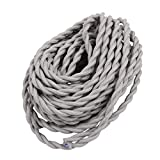 uxcell 8Meters 2-wire Gray Cloth Covered Round Cord Vintage Lamps Pendant Light VDE Certificated