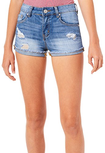 Indigo Rein Juniors Destructed Roll Cuff Denim Shorts 13 Medium wash ()