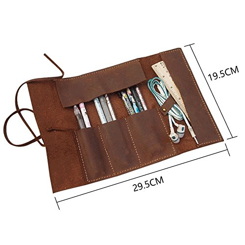 Handmade Genuine Leather Pen Case Pencil Holder Vintage Pen Pencil Roll Stationary Case Pouch for Office Uni College Students and Artists Perfect Gifts for Father/Boyfriend/Son SBD001 by TUYU (Image #1)