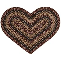 IHF Home Decor Heart Shaped 20 x 30 Braided Area Rug Jute Blackberry Design Jute Fabric